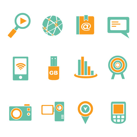 handy cam: social media icon set, communication icons