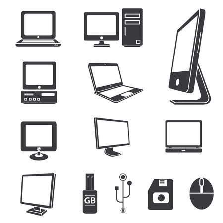 ordinateur bureau: ic�nes informatiques, �lectroniques ic�nes