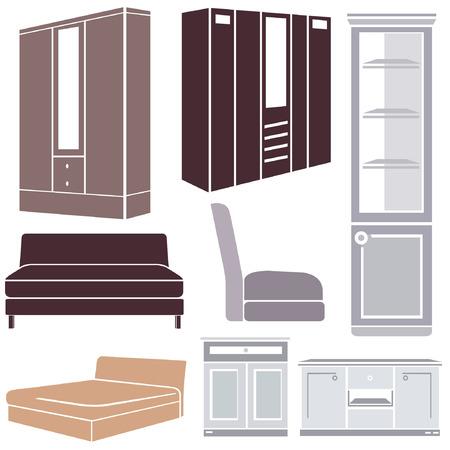 furniture set, interior design icon set