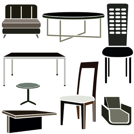 stools: interior design icons, furniture set