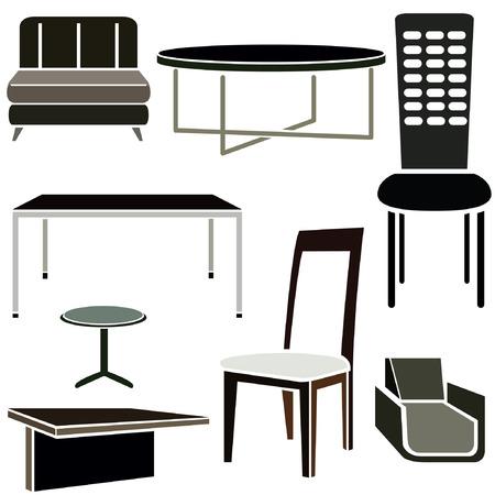 interior design: interior design icons, furniture set
