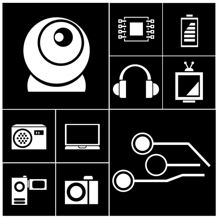 handy cam: electronic device icon set, black buttons