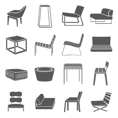 chair set, furniture icon set Vectores
