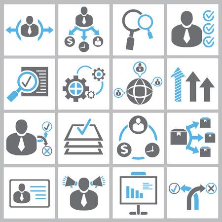 icônes de gestion d'entreprise et de ressources humaines Vecteurs