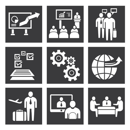abroad: organization icons, management icon set Illustration