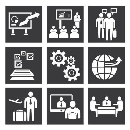 international monitoring: organization icons, management icon set Illustration