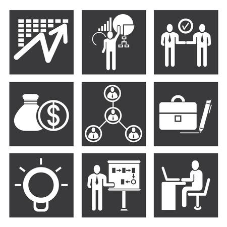 commercial activity: organization icons, management icon set Illustration