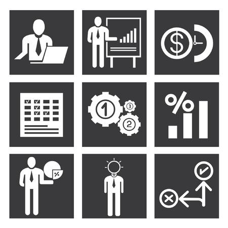 execute: organization icons, management icon set Illustration