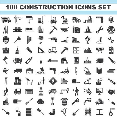 건설 아이콘 세트, 100 아이콘, 엔지니어링 도구 아이콘