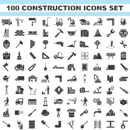 building construction site: construction icons set, 100 icons, engineering tools icons