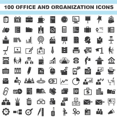kantoor en organisatie iconen, bedrijven iconen set, 100 pictogrammen
