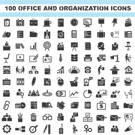 present presentation: office and organization icons, business icons set, 100 icons Illustration