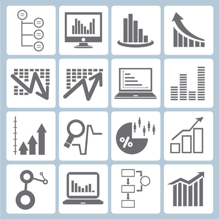 data management: graph icons, chart icons set, data form Illustration