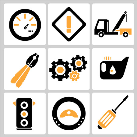spares: garage icons, auto service icons, car parts Illustration