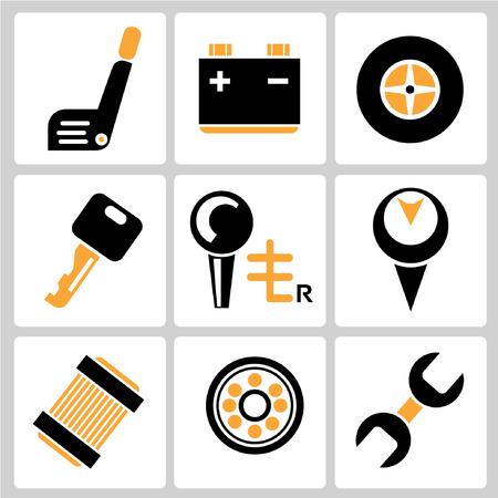 spares: garage icons, auto service icons, car parts Illustration