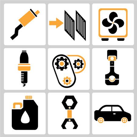 intake: garage icons, auto service icons, car parts Illustration