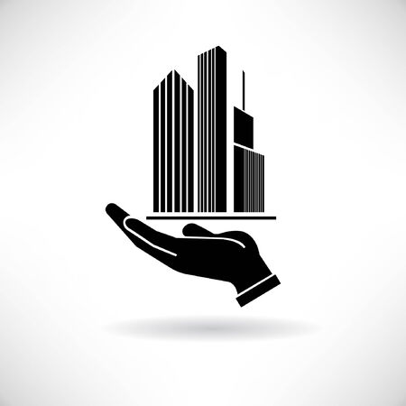 property management: real estate concept symbol, hand holding building, tower