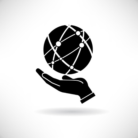 e commerce icon: globalization concept, hand holding the globe Illustration