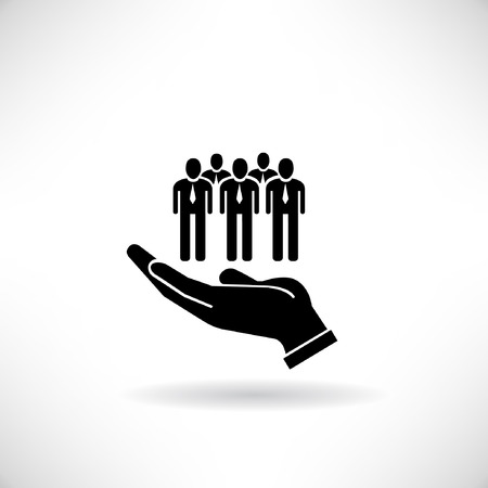 manpower concept, hand holding group of people Illustration