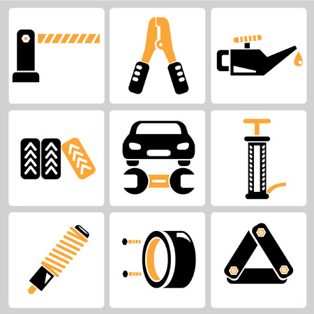 maintenance technician: garage icons, auto service icons, car parts Illustration