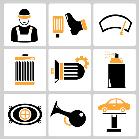 machine operator: garage icons, auto service icons, car parts Illustration