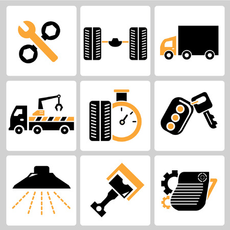 control tools: garage icons, auto service icons, car parts Illustration