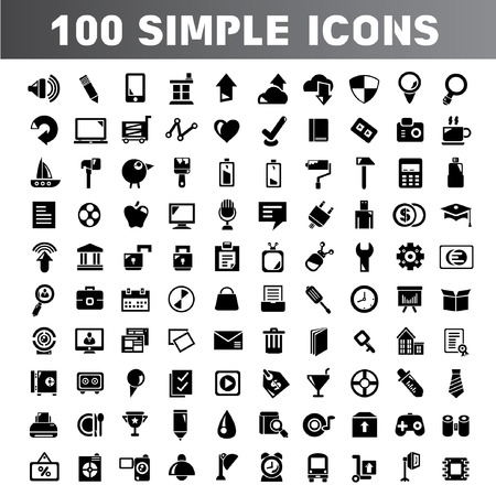 smart card: 100 simple icons, web element, web icons