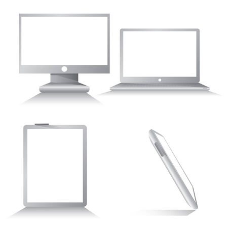 blank computer screen: computer set, electronic device, blank computer screen Illustration