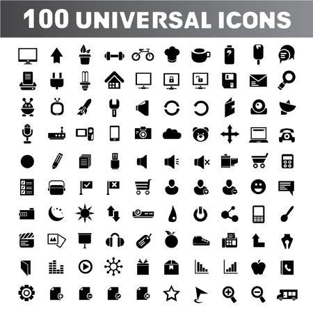100 universal icons, web icons set Vektorové ilustrace