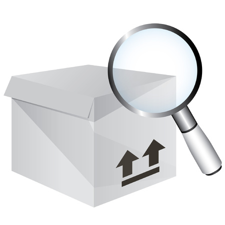 cardboard box and magnifying glass, verification concept Vector