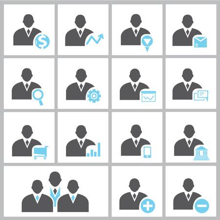 hombre de perfil: Perfil del hombre de negocios, los iconos
