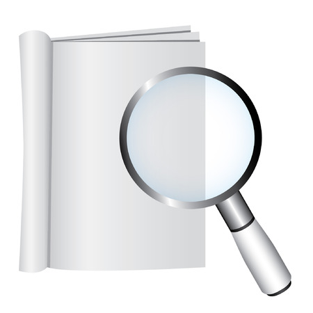 verification: empty book and magnifying glass, verification concept Illustration
