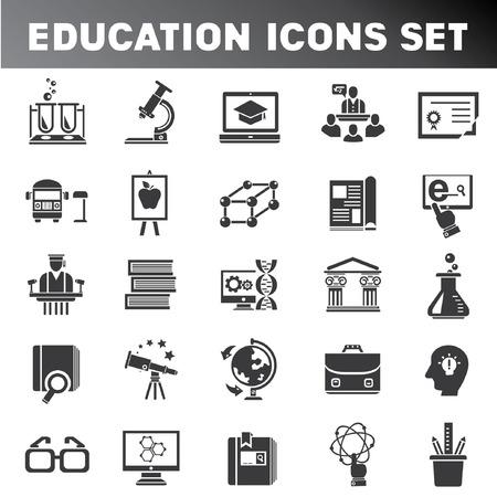 icon set: school pictogrammen, onderwijs pictogram set