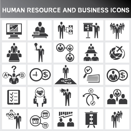 toma de decision: Iconos de los recursos humanos y empresariales Vectores