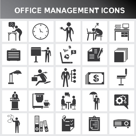sleeping man: office icons, office management icon set