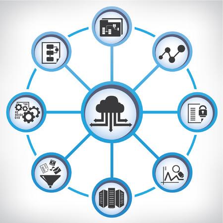 big data, data-analytische begrip Stock Illustratie