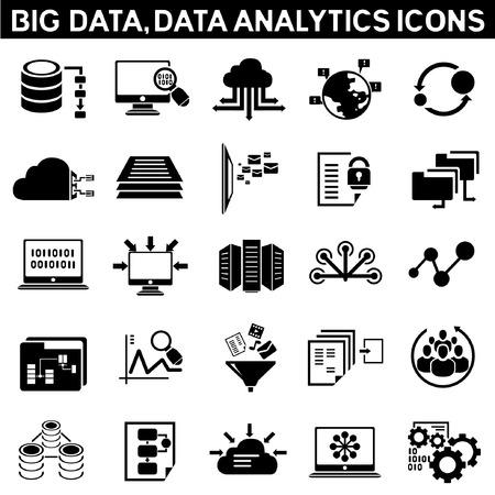大きなデータのアイコンを設定、データ分析のアイコンを設定、情報技術のアイコン、クラウド コンピューティングのアイコン  イラスト・ベクター素材