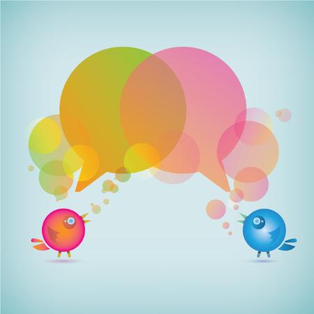 parley: fondo lindo del mensaje burbuja p�jaros s, con forma de burbuja, fondo de chat Vectores