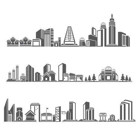 structuring: cities silhouette icon set, city skyline, building in downtown skyline set