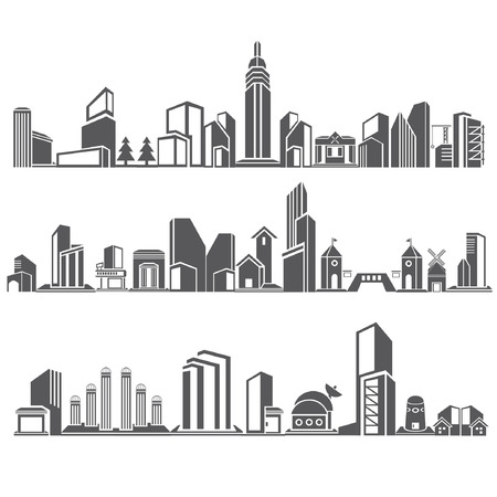 borough: cities silhouette icon set, city skyline, building in downtown skyline set