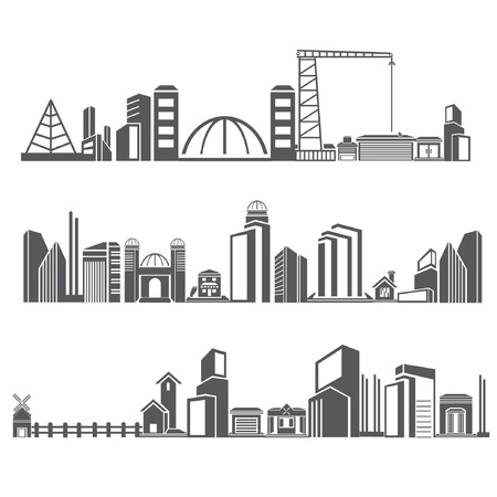 residences: cities silhouette icon set, city skyline, building in downtown skyline set