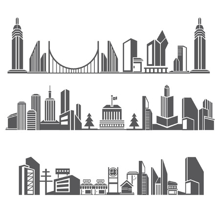 burgh: cities silhouette icon set, city skyline, building in downtown skyline set