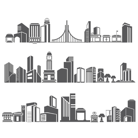 cities silhouette icon set, city skyline, building in downtown skyline set Stock Vector - 24468611