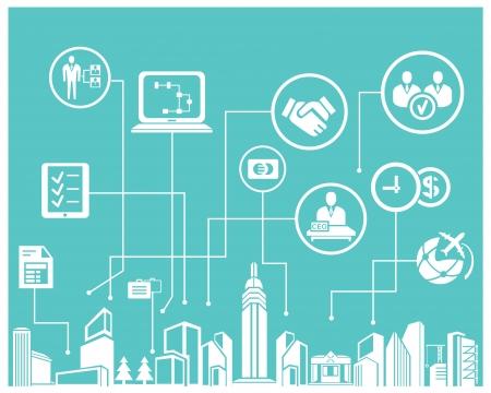 conexiones: sistema de negocio y la gesti�n empresarial info gr�fico, fondo azul