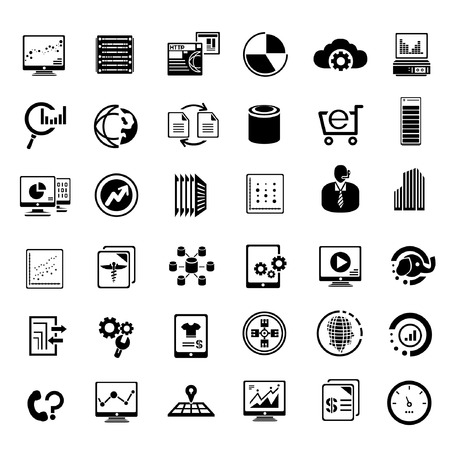 hub computer: big data management icons set, information technology buttons Illustration