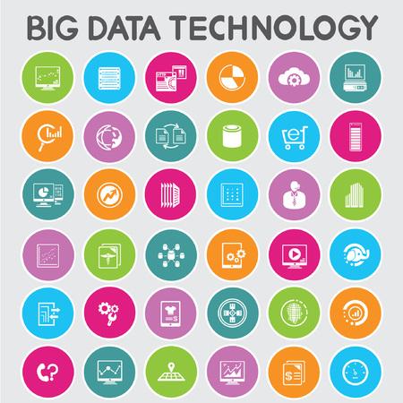 big adatok icon set, színes gombok meg