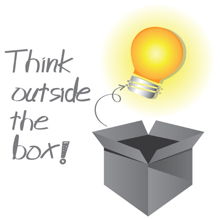 outside box: think outside the box, think creative concept