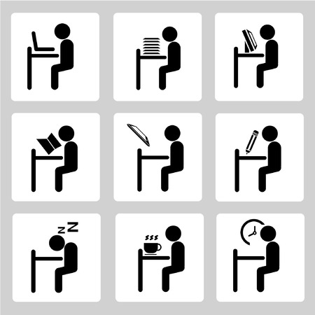 office working icons set, sitting man set Vector