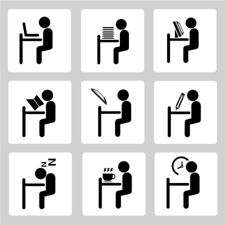 work hard: office working icons set, sitting man set