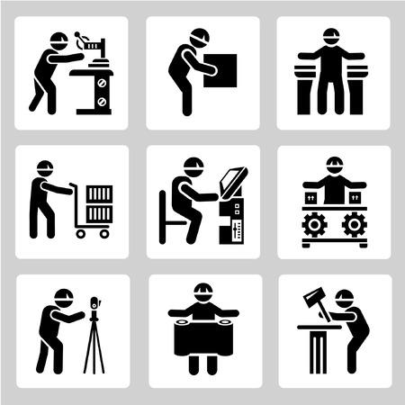 기술자 사람들은 산업 노동자 아이콘을 설정, 설정